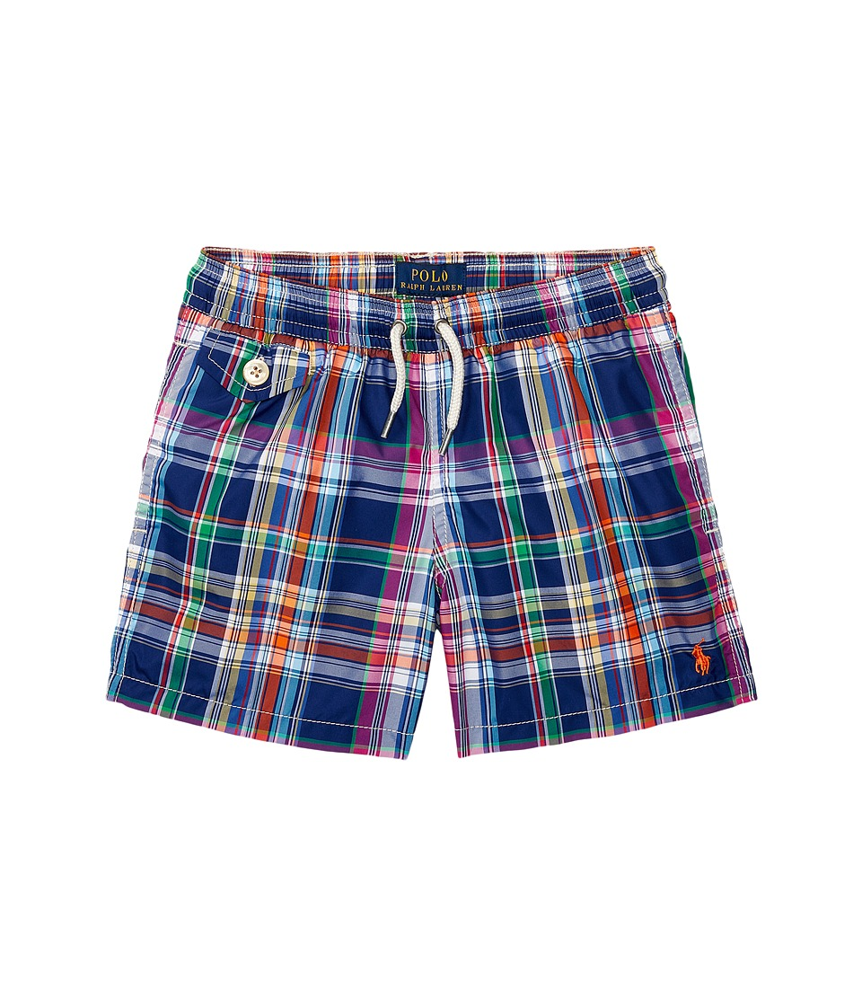Polo Ralph Lauren Kids - Yarn-Dyed Poly Traveler Shorts (Toddler) (Cruise Plaid) Boy's Swimwear