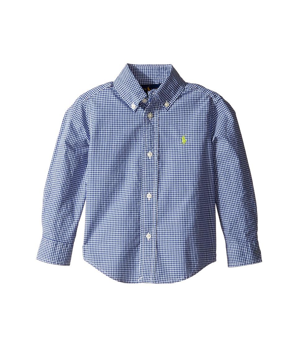 Polo Ralph Lauren Kids - Poplin Long Sleeve Button Down Shirt (Toddler) (Royal/White) Boy's Long Sleeve Button Up