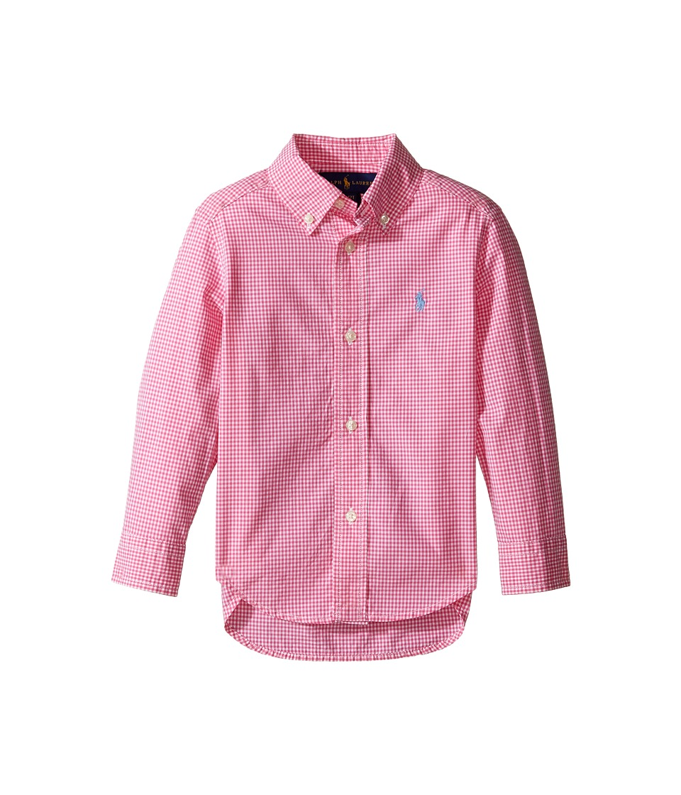 Polo Ralph Lauren Kids - Poplin Long Sleeve Button Down Shirt (Toddler) (Pink/White) Boy's Long Sleeve Button Up