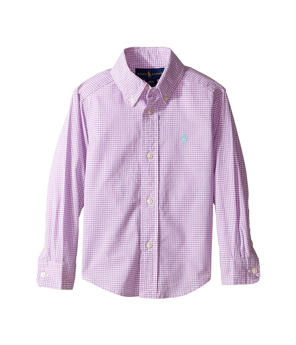 Polo Ralph Lauren Kids - Poplin Long Sleeve Button Down Shirt (Toddler) (Purple/White) Boy's Long Sleeve Button Up