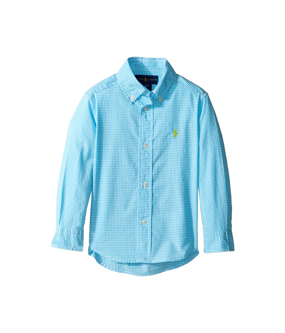 Polo Ralph Lauren Kids - Poplin Long Sleeve Button Down Shirt (Toddler) (Turquoise/White) Boy's Long Sleeve Button Up