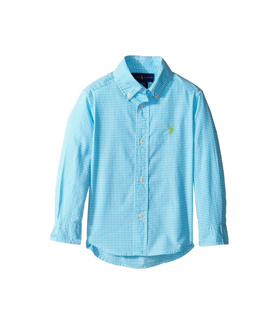 Polo Ralph Lauren Kids - Poplin Long Sleeve Button Down Shirt (Toddler) (Turquoise/White) Boy's Long Sleeve Button Up