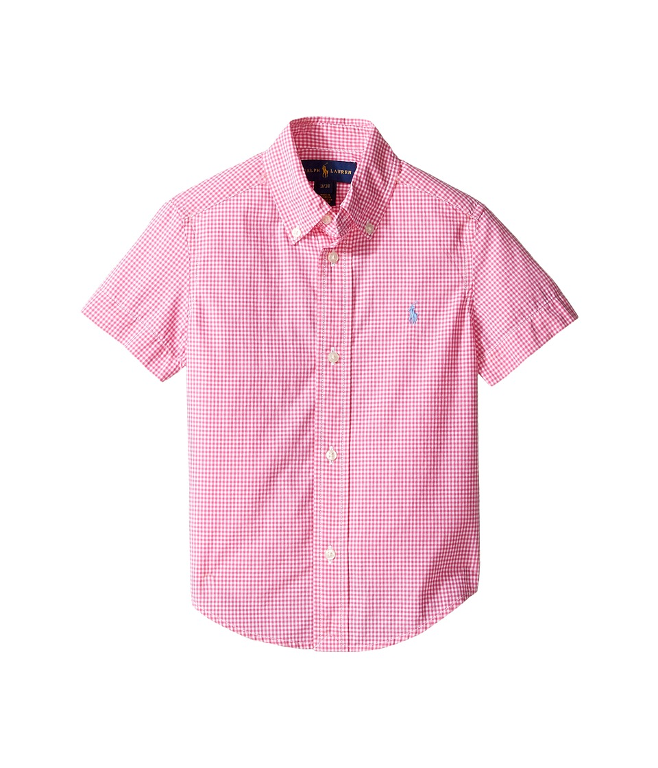 Polo Ralph Lauren Kids - Poplin Short Sleeve Button Down Shirt (Toddler) (Pink/White) Boy's Short Sleeve Button Up