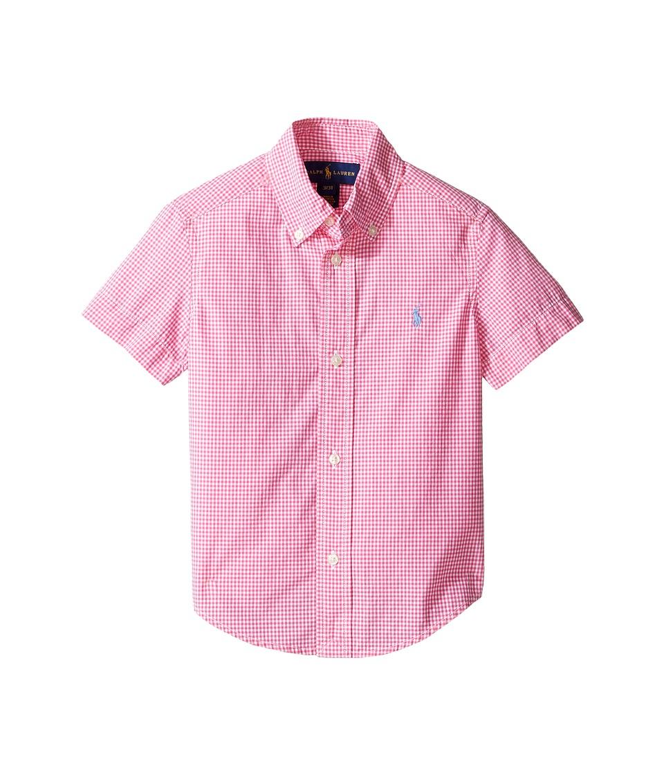 Polo Ralph Lauren Kids - Poplin Short Sleeve Button Down Shirt (Toddler) (Pink/White) Boy's Short Sleeve Button Up