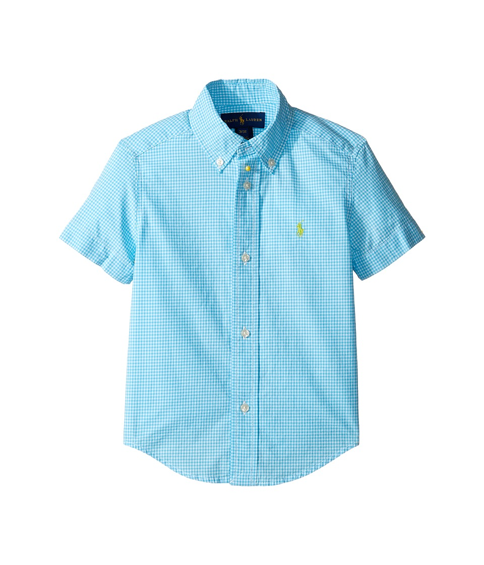 Polo Ralph Lauren Kids - Poplin Short Sleeve Button Down Shirt (Toddler) (Turquoise/White) Boy's Short Sleeve Button Up