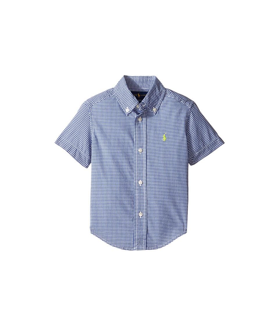 Polo Ralph Lauren Kids - Poplin Short Sleeve Button Down Shirt (Toddler) (Royal/White) Boy's Short Sleeve Button Up