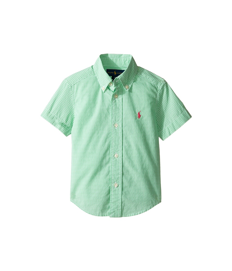 Polo Ralph Lauren Kids - Poplin Short Sleeve Button Down Shirt (Toddler) (Green/White) Boy's Short Sleeve Button Up