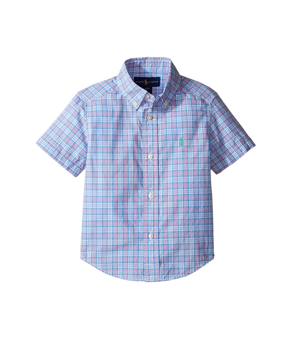 Polo Ralph Lauren Kids - Yarn-Dyed Poplin Short Sleeve Button Down Shirt (Toddler) (Blue/Pink Multi) Boy's Short Sleeve Button Up