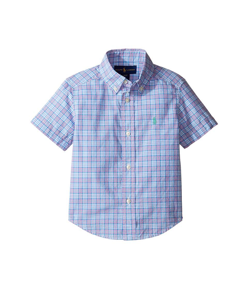 Polo Ralph Lauren Kids - Yarn-Dyed Poplin Short Sleeve Button Down Shirt (Toddler) (Blue/Pink Multi) Boy's Short Sleeve Button Up