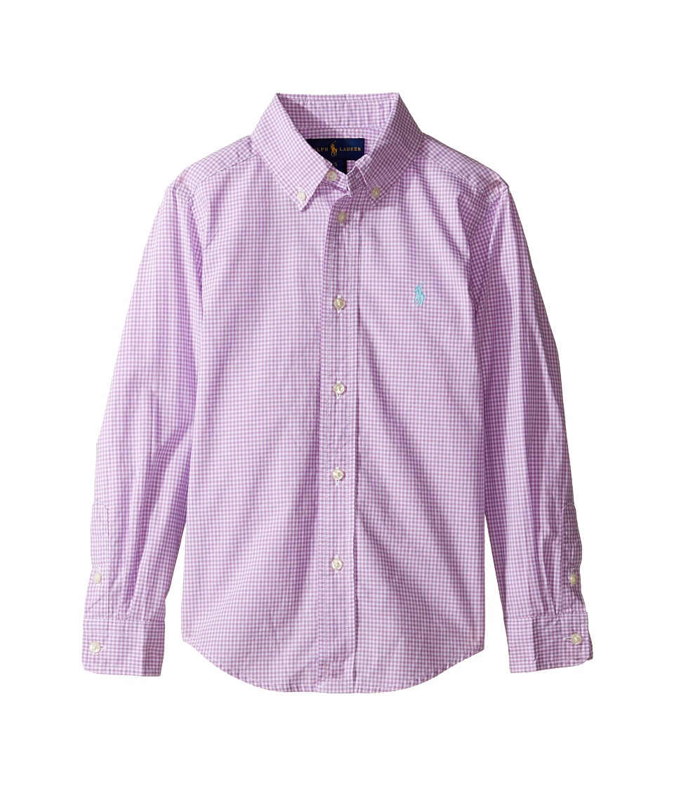 Polo Ralph Lauren Kids - Poplin Long Sleeve Button Down Shirt (Little Kids/Big Kids) (Purple/White) Boy's Long Sleeve Button Up