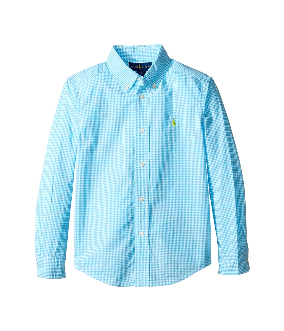 Polo Ralph Lauren Kids - Poplin Long Sleeve Button Down Shirt (Little Kids/Big Kids) (Turquoise/White) Boy's Long Sleeve Button Up