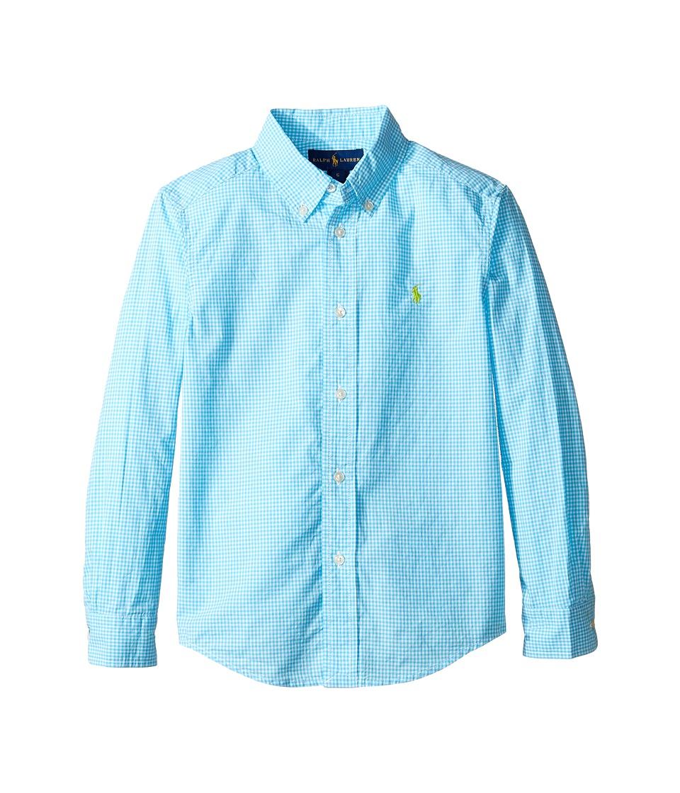Polo Ralph Lauren Kids - Poplin Long Sleeve Button Down Shirt (Little Kids/Big Kids) (Turquoise/White) Boy's Long Sleeve Button Up