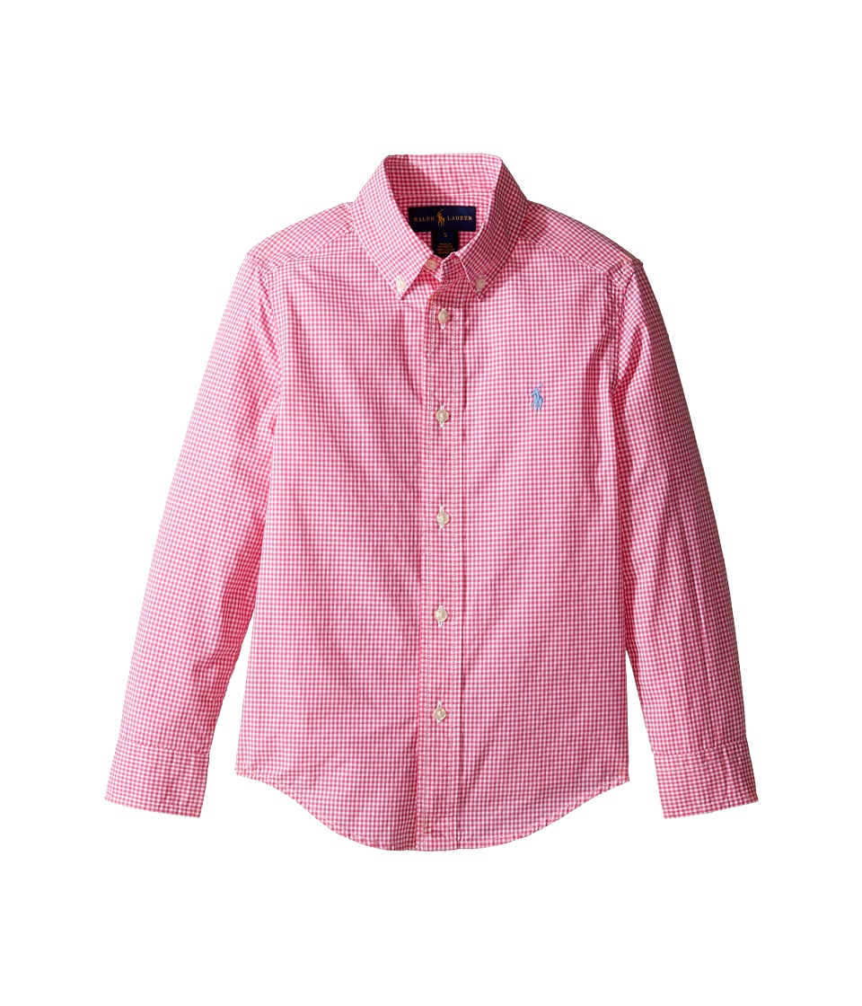Polo Ralph Lauren Kids - Poplin Long Sleeve Button Down Shirt (Little Kids/Big Kids) (Pink/White) Boy's Long Sleeve Button Up