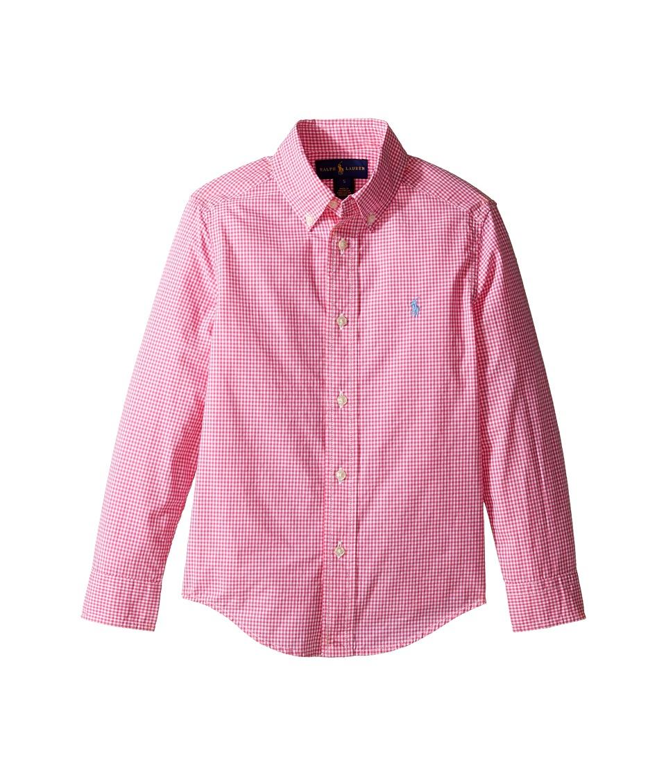 Polo Ralph Lauren Kids - Poplin Long Sleeve Button Down Shirt (Little Kids/Big Kids) (Pink/White) Boy's Long Sleeve Button Up