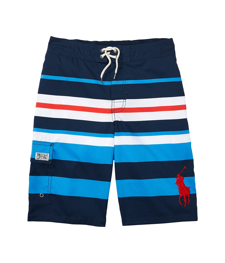 Polo Ralph Lauren Kids - Printed Poly Kailua Trunk Boardshorts (Big Kids) (Multicolored Stripe) Boy's Swimwear