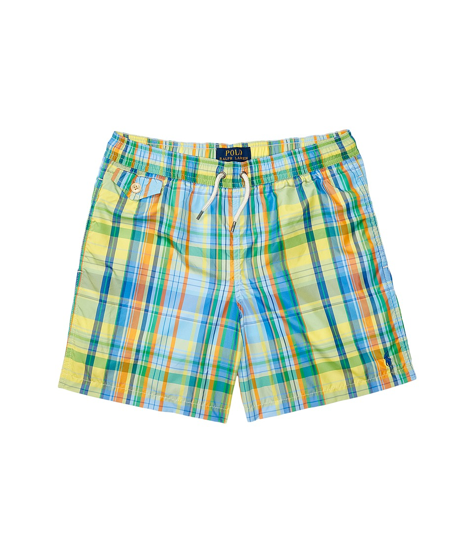 Polo Ralph Lauren Kids - Yarn-Dyed Poly Traveler Shorts (Big Kids) (Hampton Plaid) Boy's Swimwear