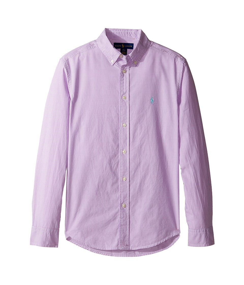Polo Ralph Lauren Kids - Poplin Long Sleeve Button Down Shirt (Big Kids) (Purple/White) Boy's Long Sleeve Button Up