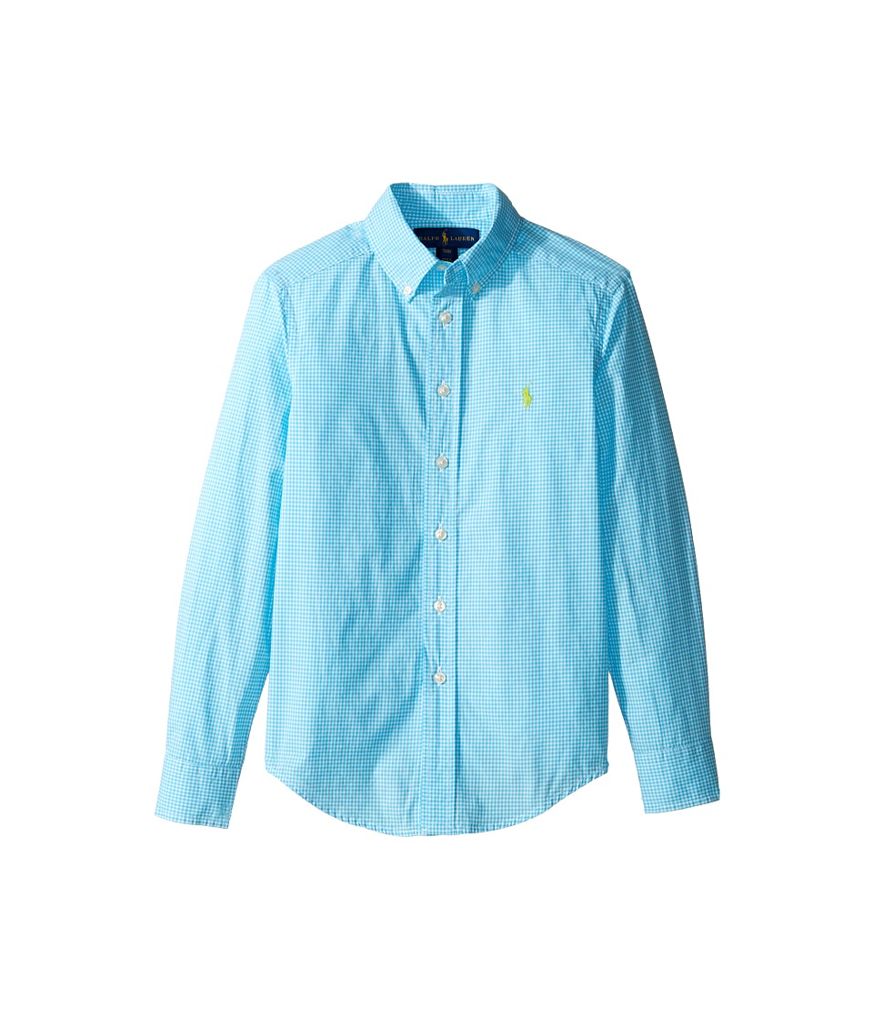 Polo Ralph Lauren Kids - Poplin Long Sleeve Button Down Shirt (Big Kids) (Turquoise/White) Boy's Long Sleeve Button Up