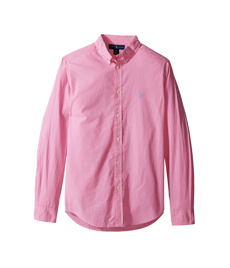 Polo Ralph Lauren Kids - Poplin Long Sleeve Button Down Shirt (Big Kids) (Pink/White) Boy's Long Sleeve Button Up
