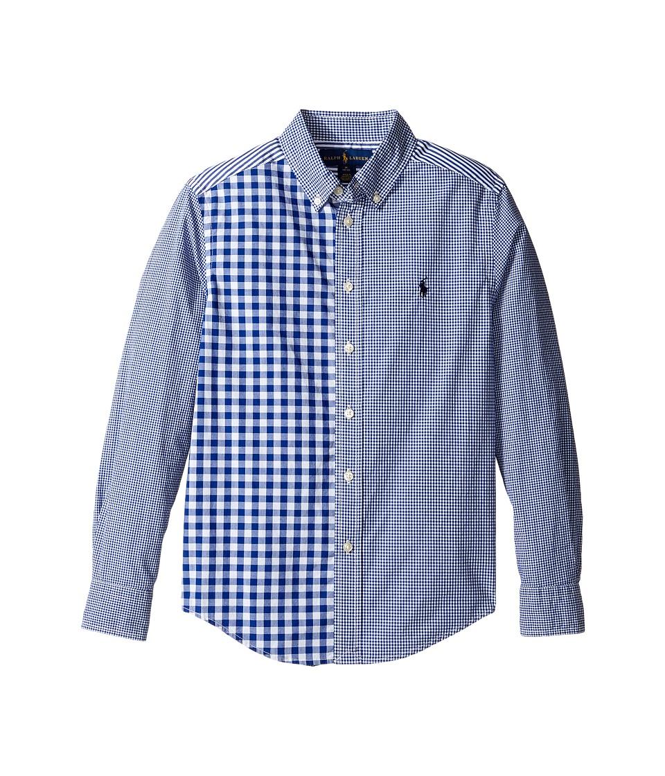 Polo Ralph Lauren Kids - Poplin Fun Shirt (Big Kids) (Royal/White Multi) Boy's Clothing