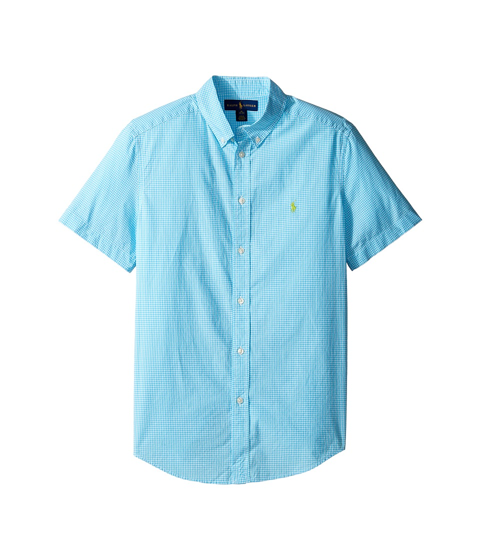Polo Ralph Lauren Kids - Poplin Short Sleeve Button Down Shirt (Big Kids) (Turquoise/White) Boy's Short Sleeve Button Up