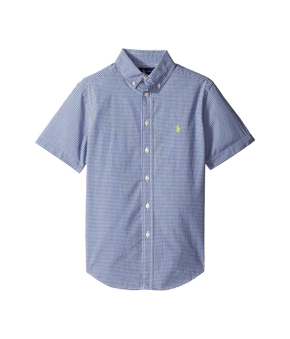 Polo Ralph Lauren Kids - Poplin Short Sleeve Button Down Shirt (Big Kids) (Royal/White) Boy's Short Sleeve Button Up