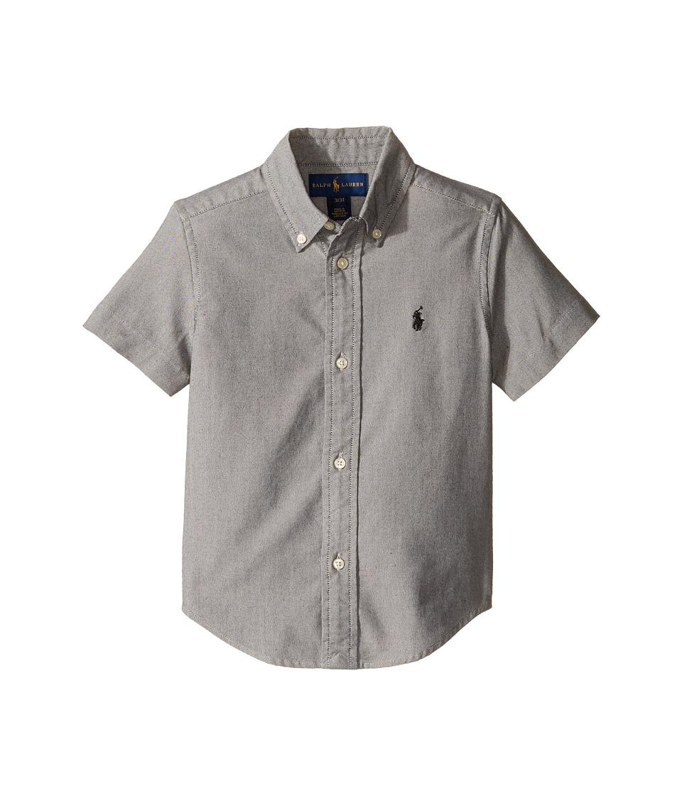 Polo Ralph Lauren Kids - Performance Oxford Short Sleeve Button Down Shirt (Toddler) (Black) Boy's Short Sleeve Pullover