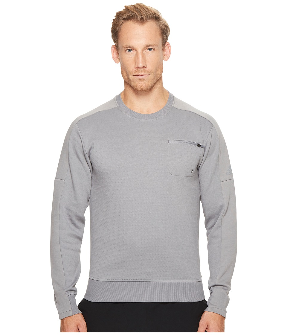 adidas - Squad ID Crew (Grey 3) Men's Long Sleeve Pullover