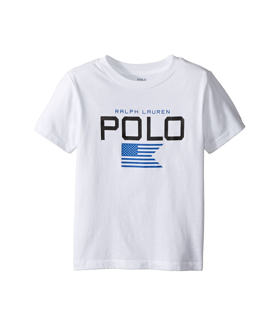Polo Ralph Lauren Kids - Cotton Poly Graphic Crew T-Shirt (Toddler) (Pure White) Boy's T Shirt