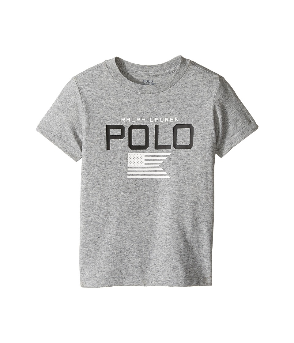 Polo Ralph Lauren Kids - Cotton Poly Graphic Crew T-Shirt (Toddler) (Authentic Heather) Boy's T Shirt