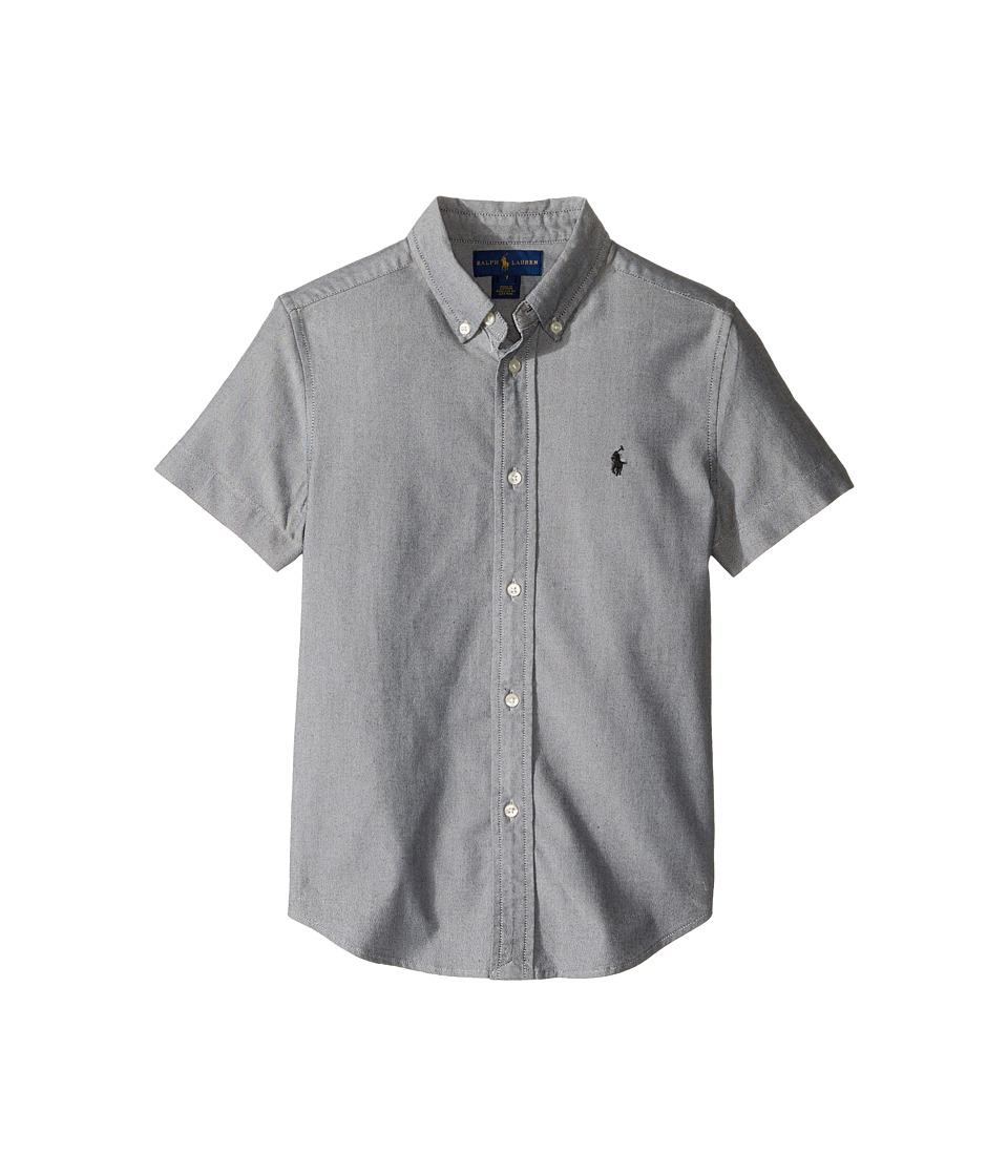 Polo Ralph Lauren Kids - Performance Oxford Short Sleeve Button Down Shirt (Little Kids/Big Kids) (Black) Boy's Short Sleeve Button Up