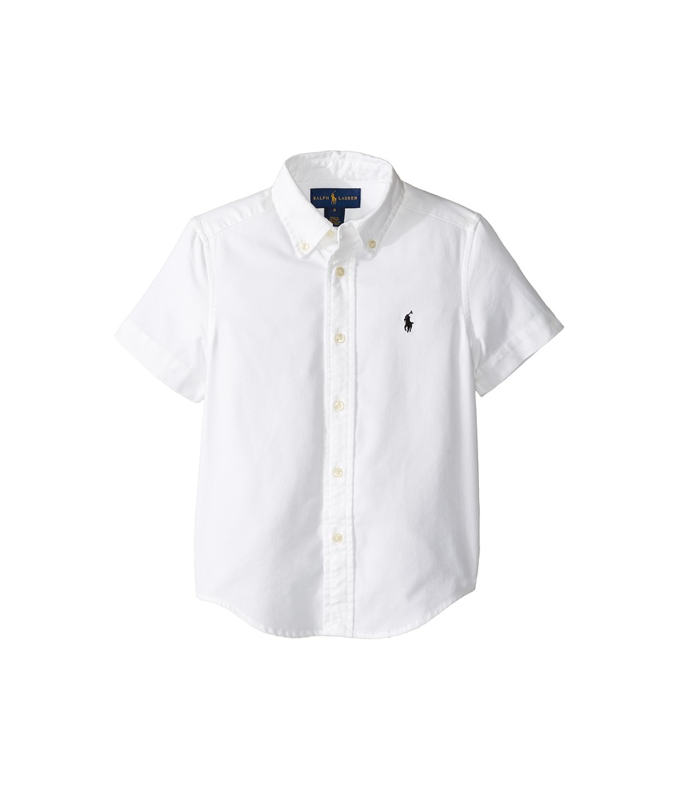 Polo Ralph Lauren Kids - Performance Oxford Short Sleeve Button Down Shirt (Little Kids/Big Kids) (White) Boy's Short Sleeve Button Up