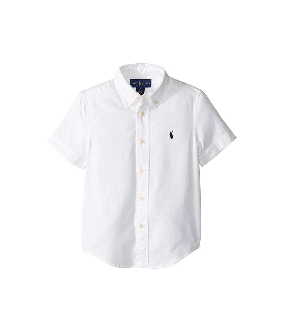 Polo Ralph Lauren Kids - Performance Oxford Short Sleeve Button Down Shirt (Little Kids/Big Kids) (White) Boy's Short Sleeve Button Up
