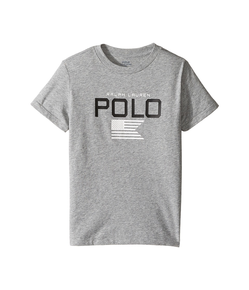 Polo Ralph Lauren Kids - Cotton Poly Graphic Crew Neck T-Shirt (Little Kids/Big Kids) (Authentic Heather) Boy's T Shirt