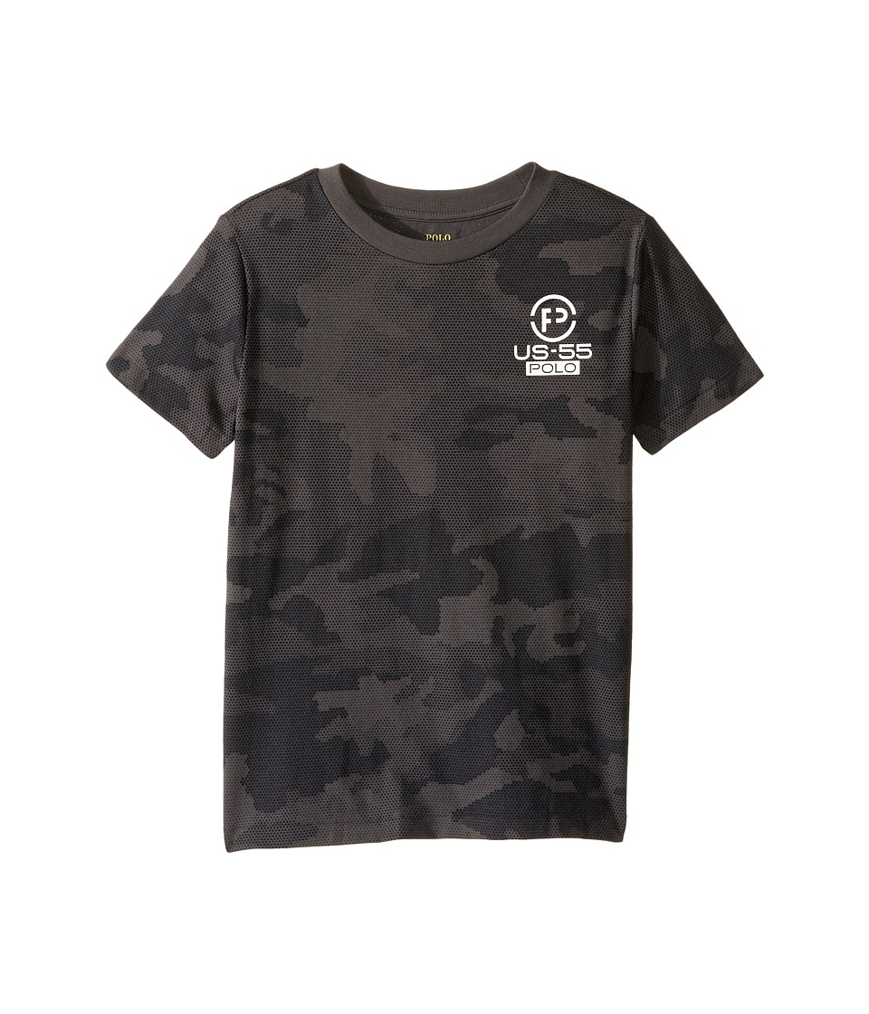 Polo Ralph Lauren Kids - Cotton Poly Graphic Crew Neck T-Shirt (Little Kids/Big Kids) (Black Camo) Boy's T Shirt