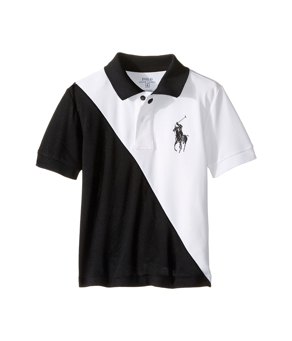 Polo Ralph Lauren Kids - Tech Mesh Banner Polo (Little Kids/Big Kids) (Pure White) Boy's Short Sleeve Pullover