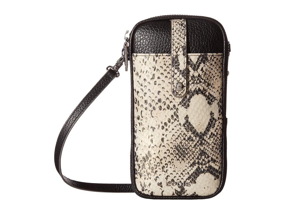 Lodis Accessories - Kate Exotic Blossom Mini Crossbody (Black/Taupe) Cross Body Handbags