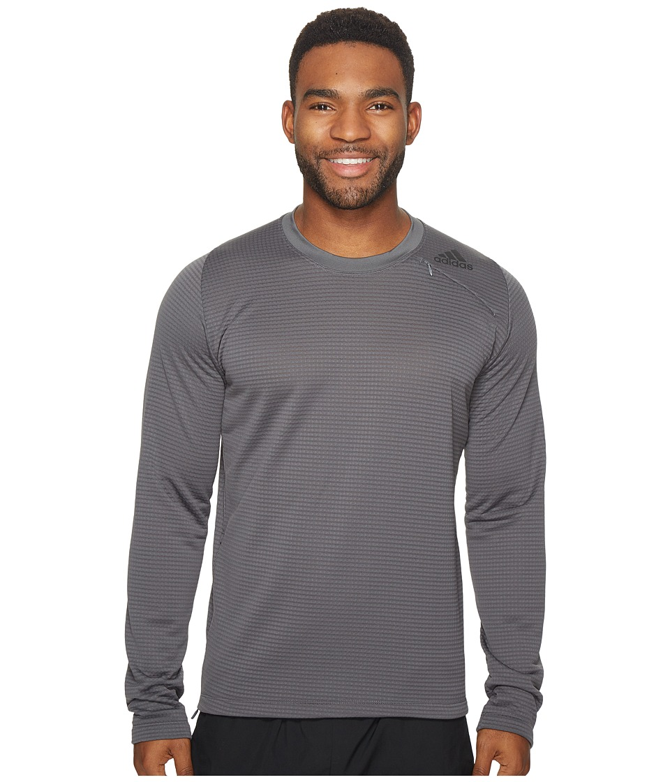 adidas - Athlete ID Long Sleeve Cover-Up (Grey 5) Men's Long Sleeve Pullover