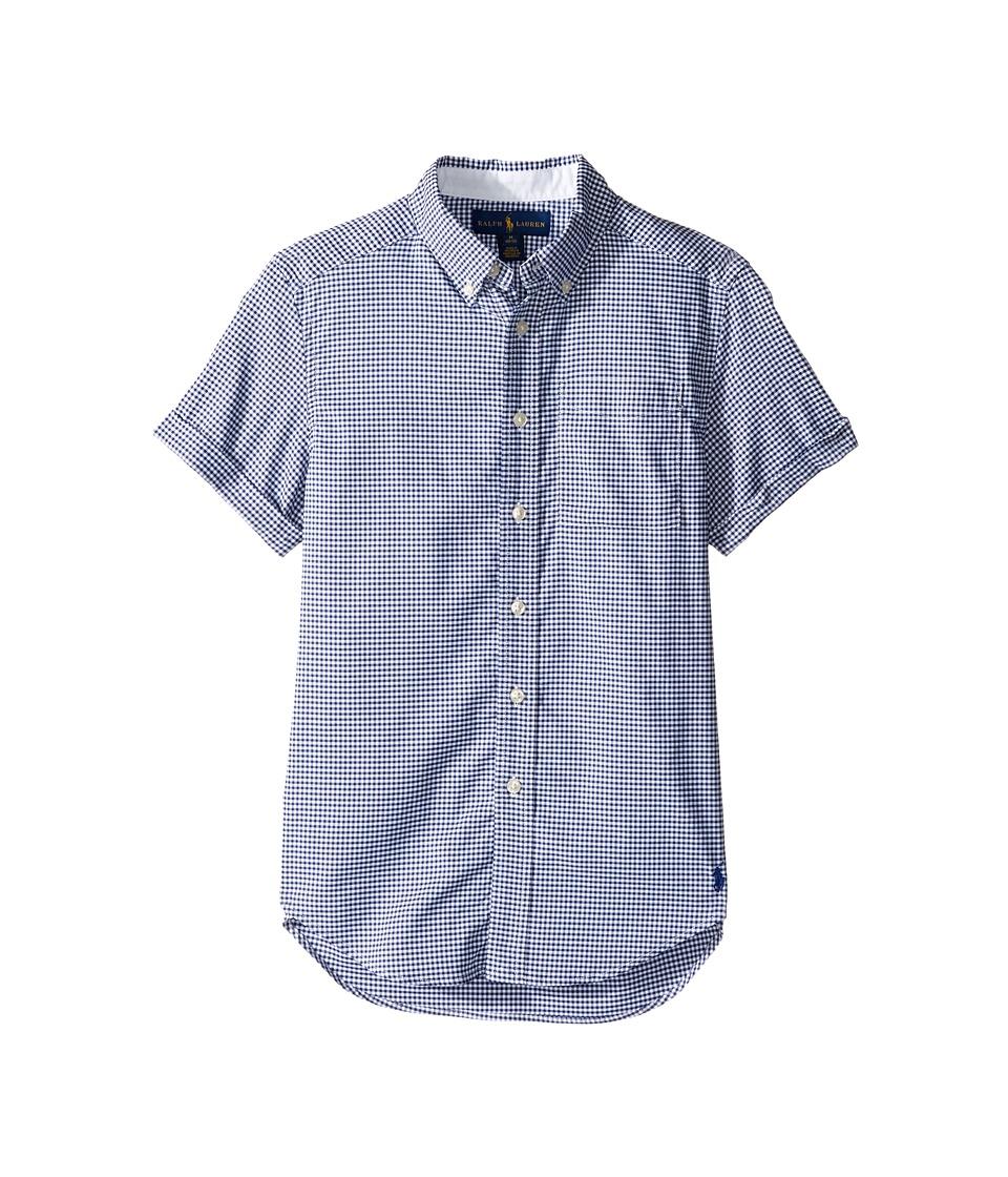 Polo Ralph Lauren Kids - Performance Oxford Short Sleeve Button Down Shirt (Big Kids) (Royal Multi) Boy's Short Sleeve Button Up
