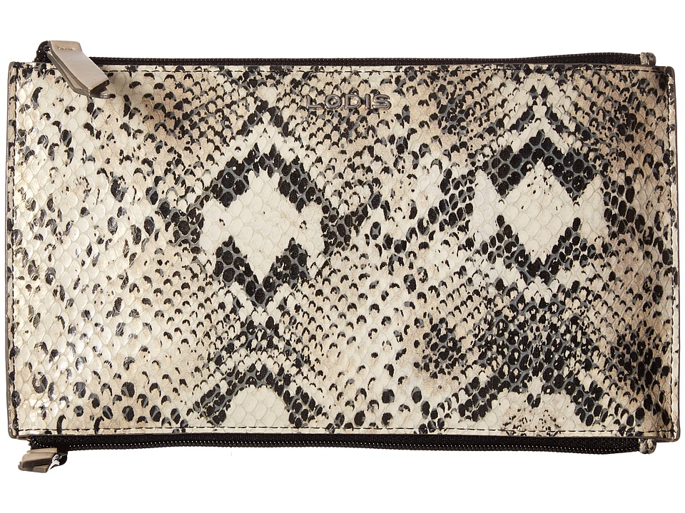 Lodis Accessories - Kate Exotic Lani Double Zip Pouch (Black/Taupe) Wallet