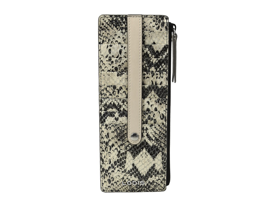 Lodis Accessories - Kate Exotic Credit Card w/ Zipper Pocket (Black/Taupe) Credit card Wallet