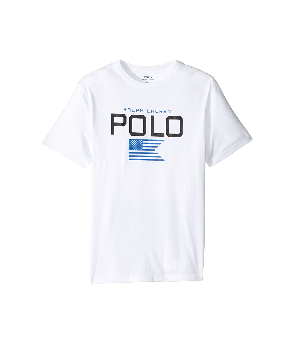 Polo Ralph Lauren Kids - Cotton Poly Graphic Crew Neck T-Shirt (Big Kids) (Pure White) Boy's T Shirt