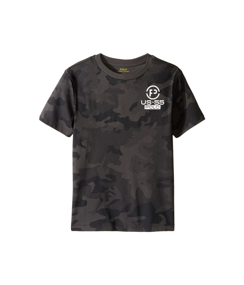Polo Ralph Lauren Kids - Cotton Poly Graphic Crew Neck T-Shirt (Big Kids) (Black Camo) Boy's T Shirt