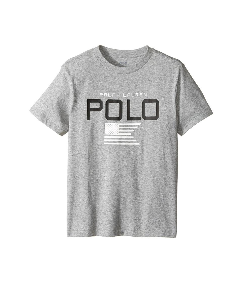 Polo Ralph Lauren Kids - Cotton Poly Graphic Crew Neck T-Shirt (Big Kids) (Authentic Heather) Boy's T Shirt