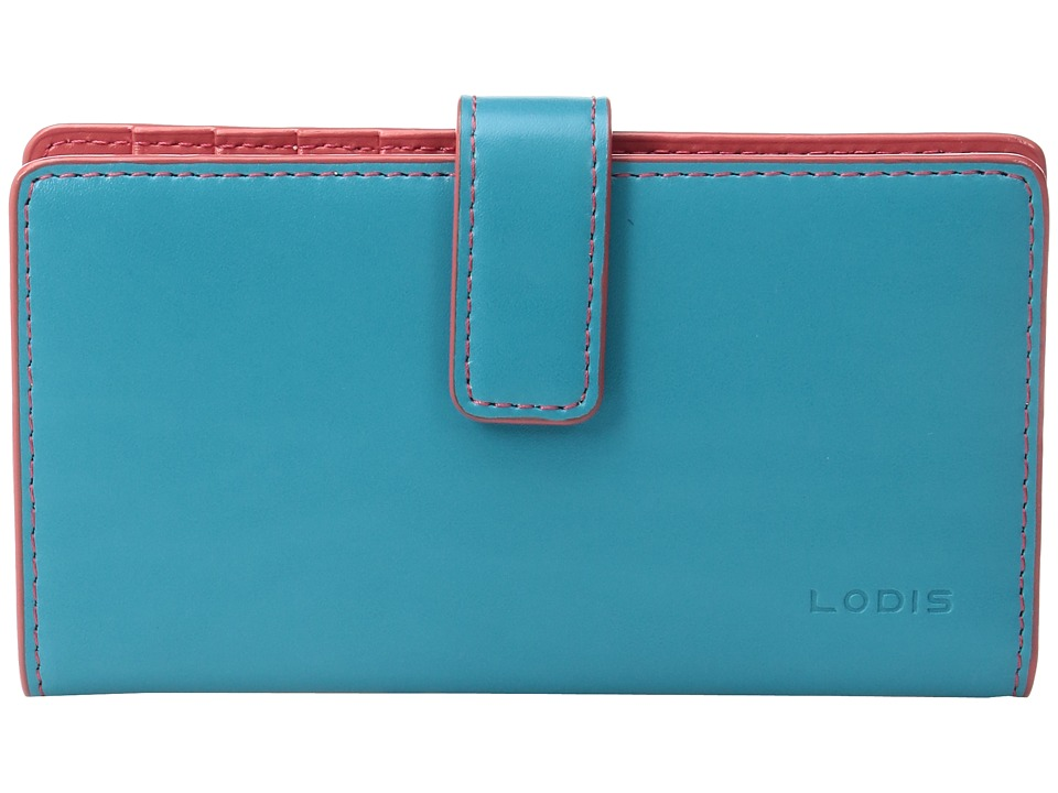 Lodis Accessories - Audrey Card Case w/ Coin Purse (Turquoise/Coral) Coin Purse