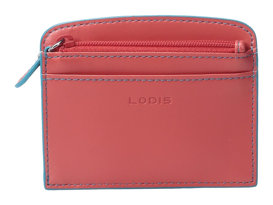 Lodis Accessories - Audrey Laci Card Case (Coral/Turquoise) Wallet