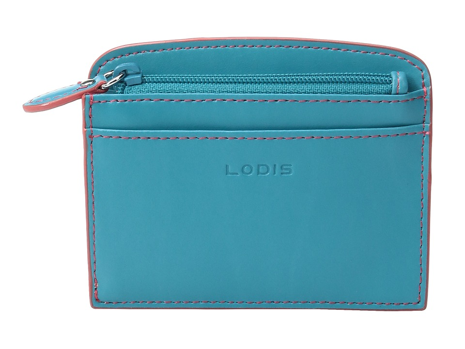 Lodis Accessories - Audrey Laci Card Case (Turquoise/Coral) Wallet