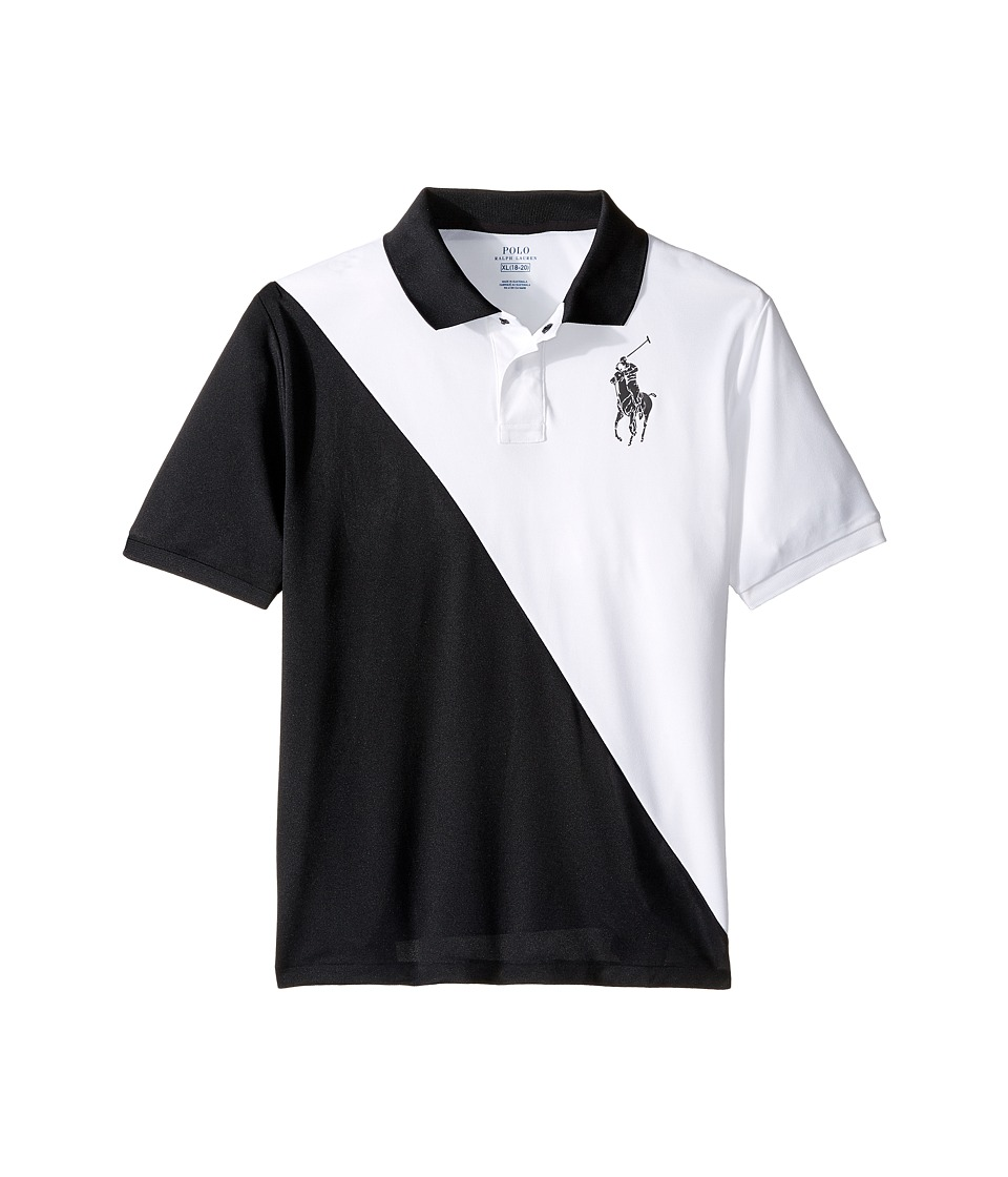Polo Ralph Lauren Kids - Tech Mesh Banner Polo (Big Kids) (Pure White) Boy's Short Sleeve Pullover