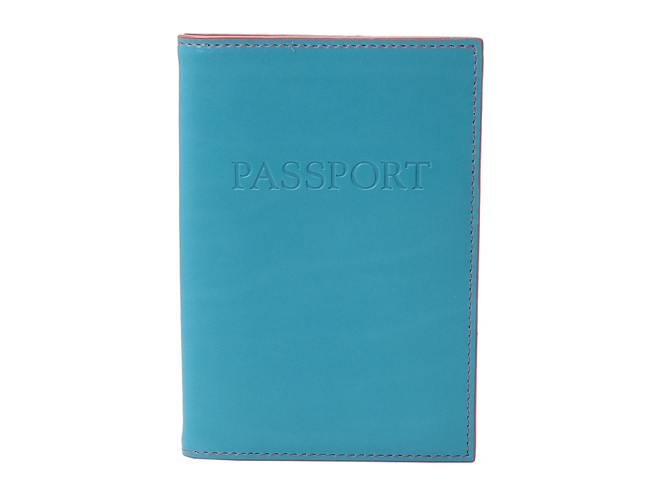Lodis Accessories - Audrey Passport Cover (Turquoise/Coral) Wallet