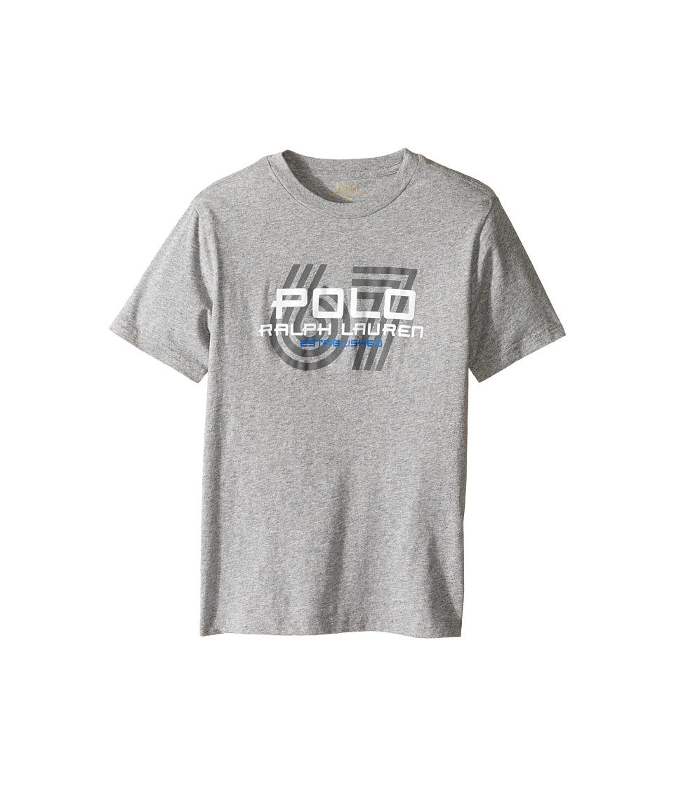 Polo Ralph Lauren Kids - 30/1 Jersey Graphic Tee (Big Kids) (Authentic Heather) Boy's T Shirt